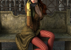 449151-women,3D view,CGI,steampunk,weapons,victorian,necklaces,3D girls,steam punk