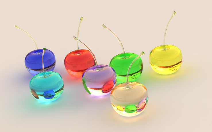 668818-3D view,glass,cherries,watches,lemons,glass art.jpg