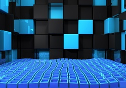 723585-3D view,abstract,blue,black,wall,design,cubes