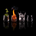 811534-water,nature,black,fire,Earth,glasses,cups,elements,creative,air,four elements,black background