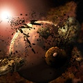 763674-outer space,planets,rocks,asteroids,meteorite