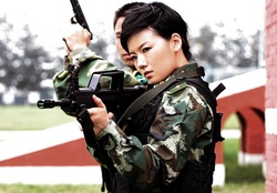 1039-women,guns,army,military,China,weapons,Asians,camouflage,Type 95