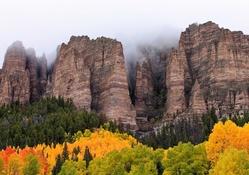 Kayalıklar ve ağaçlar