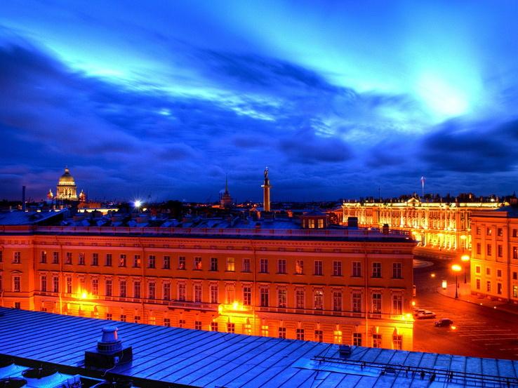 Rusyanın başkenti moskovada gün batımında çekilmiş olan hdr